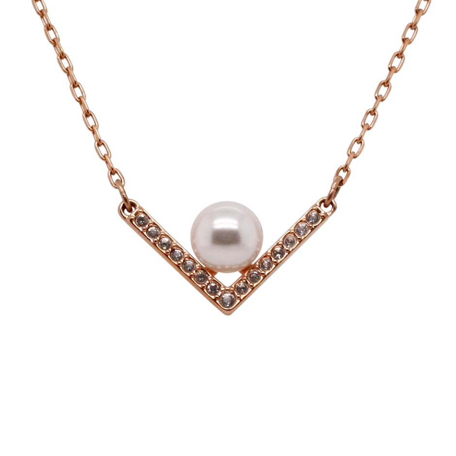 Swarovski Edify Clear Crystal & Pearl Rose Gold Necklace.