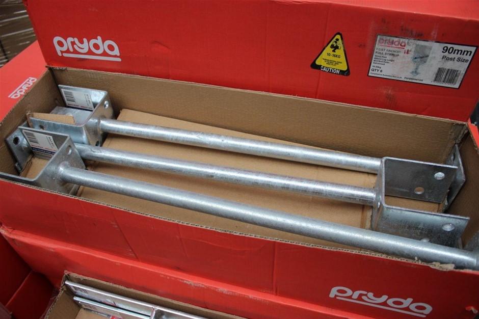 Box of 6 Pryda Full Stirrup Post Anchor 90mm Post 600mm