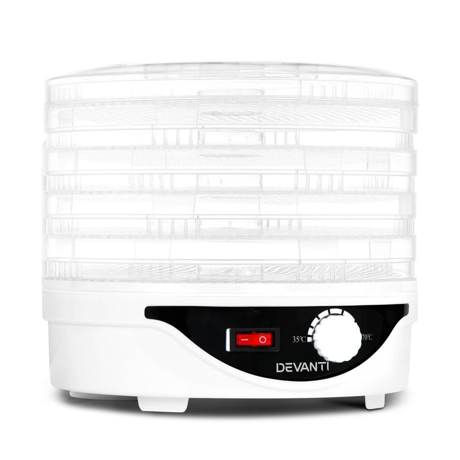 Devanti 5 Trays Food Dehydrator Beef Jerky Dehydrators Fruit Dryer White
