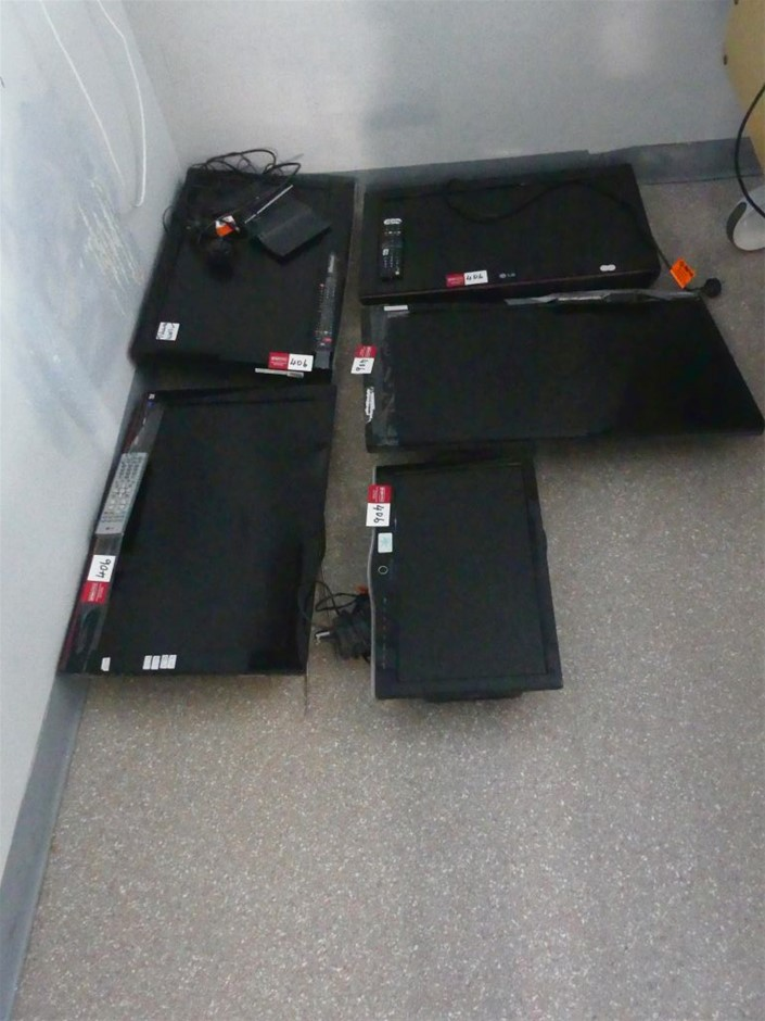 Qty 5 x assorted Flat Screen Televisions (No Stands)