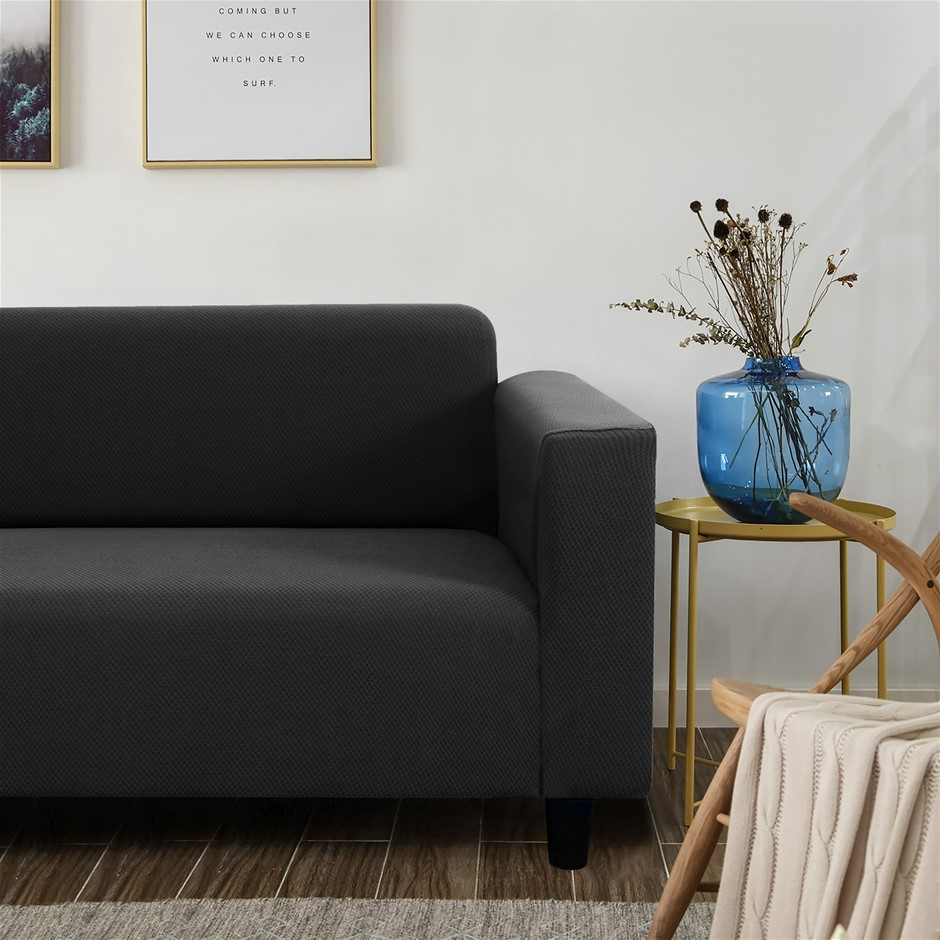 Sherwood Jacquard Easy Stretch Charcoal 4 Seater Couch Sofa Cover