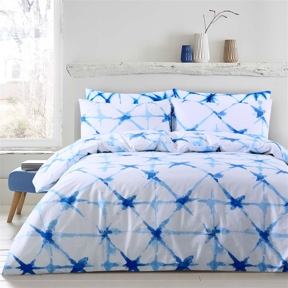 Dreamaker Shibori Printed quilt cover set Super King Bed Faded Crosses