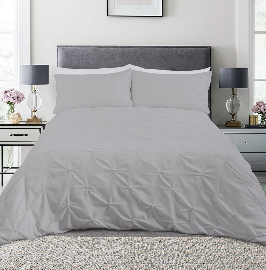 Dreamaker Spandex Emboridery Quilt Cover Set Pintuck King Bed - Grey