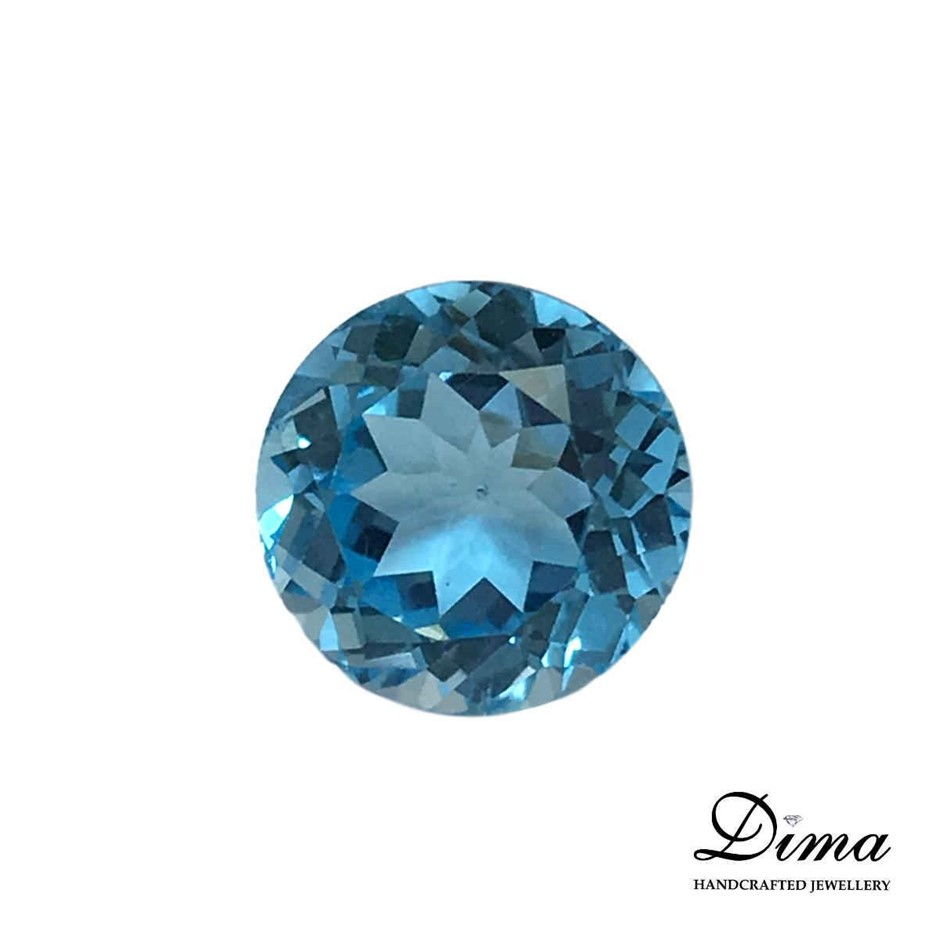 One Stone Blue Topaz Round 9.00ct