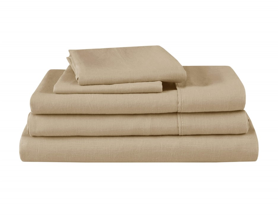Natural Home Linen Sheet Set Super King Bed HAZENLUT