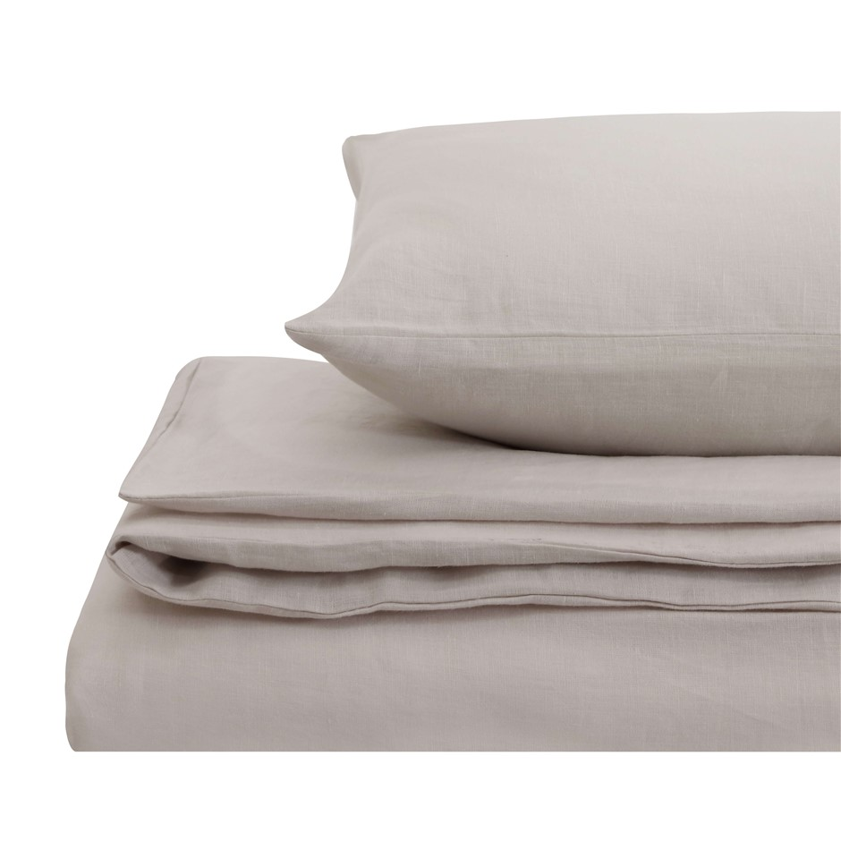 Natural Home Linen Quilt Cover Set Double Bed LINEN