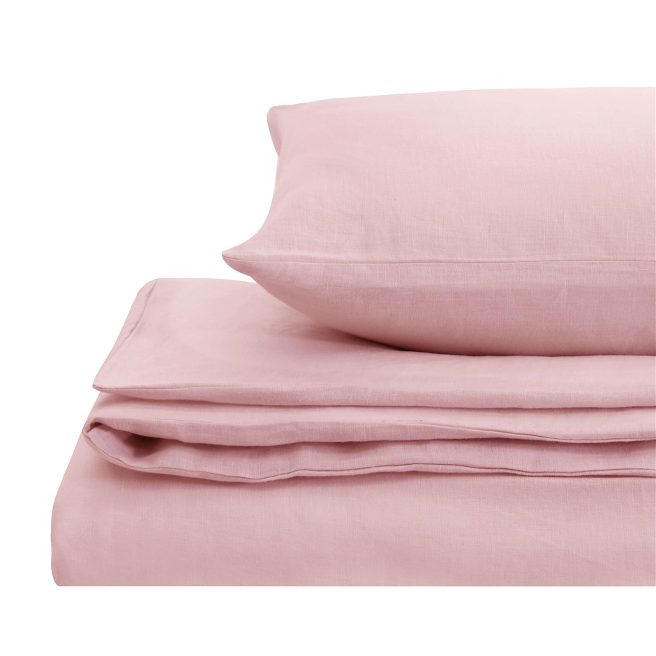Natural Home Linen Quilt Cover Set Queen Bed Blush Pink