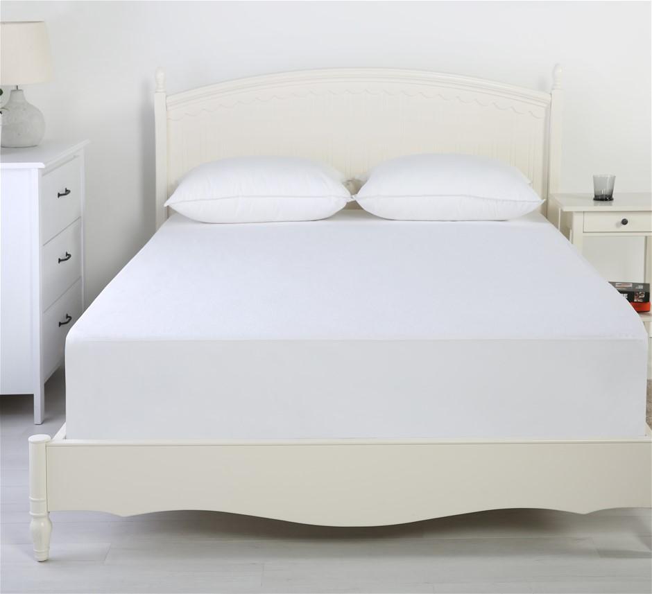 Dreamaker Reversible Cotton Waterproof Mattress Protector Single Bed