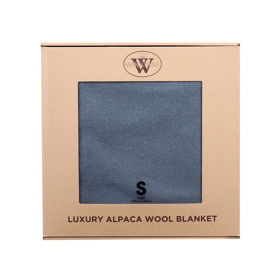 Wooltara Luxury 350GSM Alpaca Wool Blanket Dark Grey Double Bed