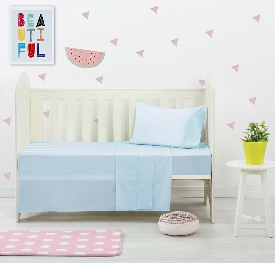 Dreamaker Baby 250 TC Egyptian Cotton Cot Sheet Set Blue