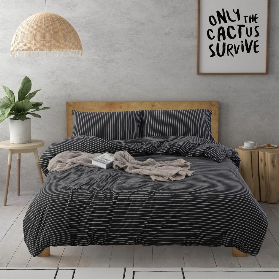 Dreamaker Cotton Jersey Quilt Cover Set Banjul Queen Bed