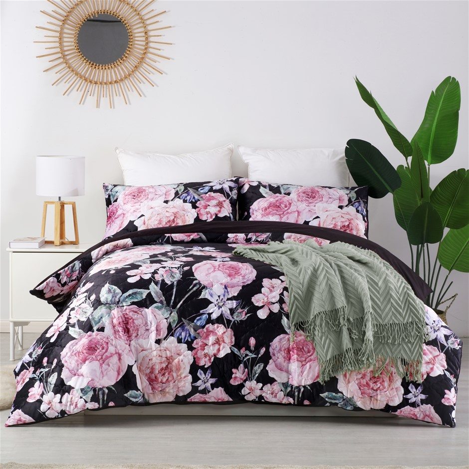 Dreamaker velvet digital print pinsonic quilted Quilt Cover Set Queen Bed