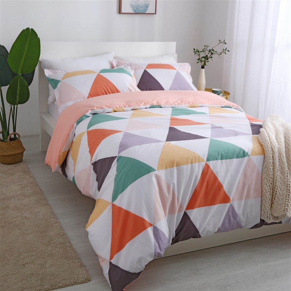 Dreamaker 250TC Egyptian Cotton Printed Quilt Cover Set King Bed Amsterdam