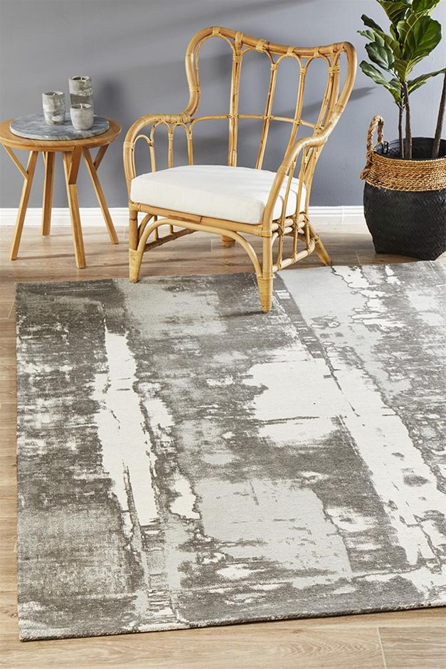 Large Silver Grey Abstract Jacquard Woven Rug - 280X190cm