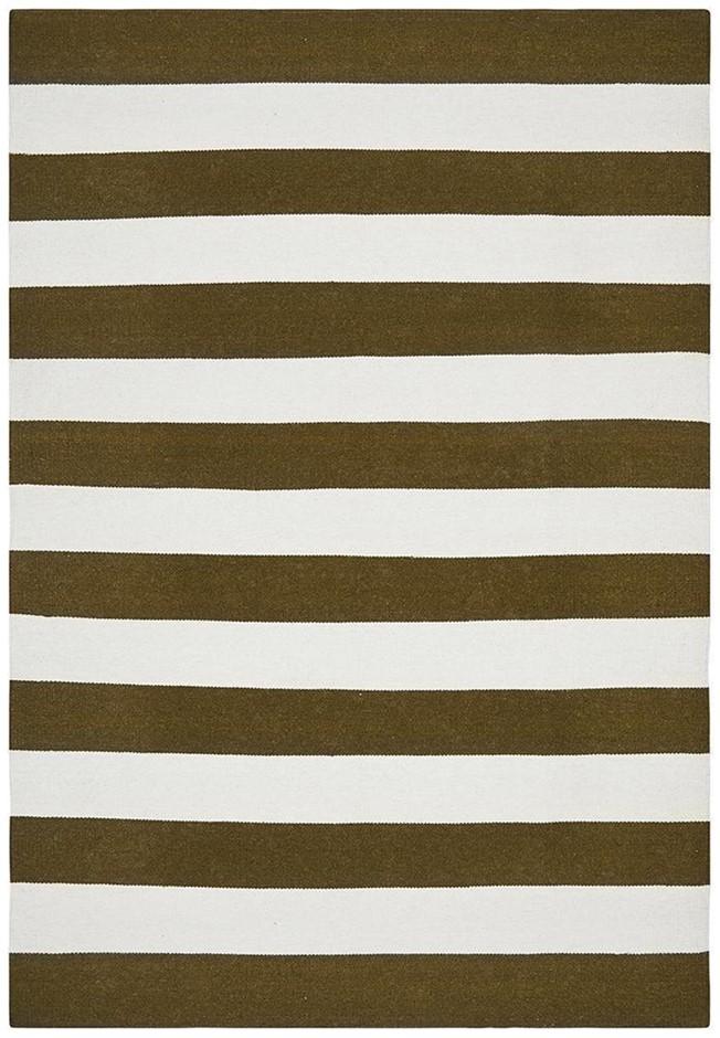 Medium Olive Handmade Wool Striped Flatwoven Rug - 225X155cm