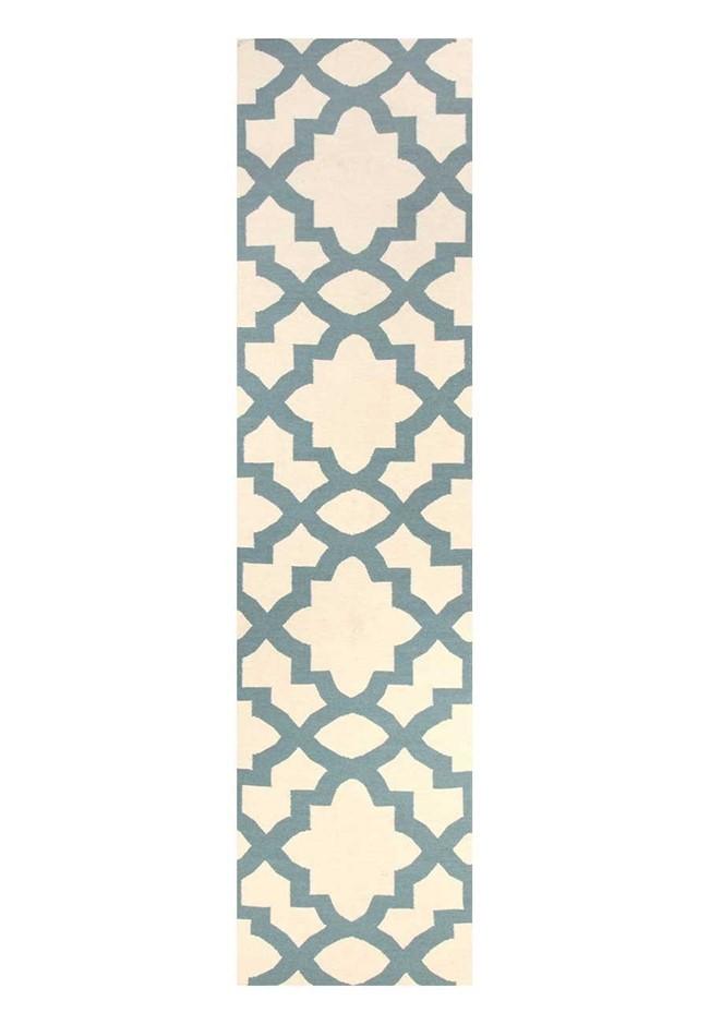 Large White & Blue Handmade Wool Trellis Flatwoven Runner Rug - 400X80cm
