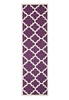 Large Purple Handmade Wool Trellis Flatwoven Runner Rug - 400X80cm