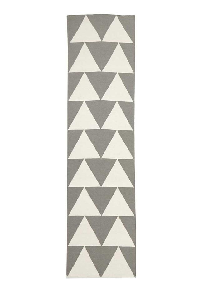 Large Grey Handmade Wool Arrows Flatwoven Runner Rug - 400X80cm