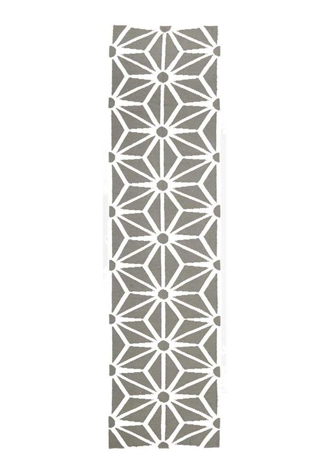 Large Grey Handmade Wool Snowflake Flatwoven Runner Rug - 400X80cm