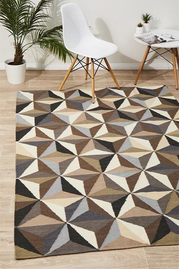 Large Grey Handmade Wool Geometric Flatwoven Rug - 280X190cm