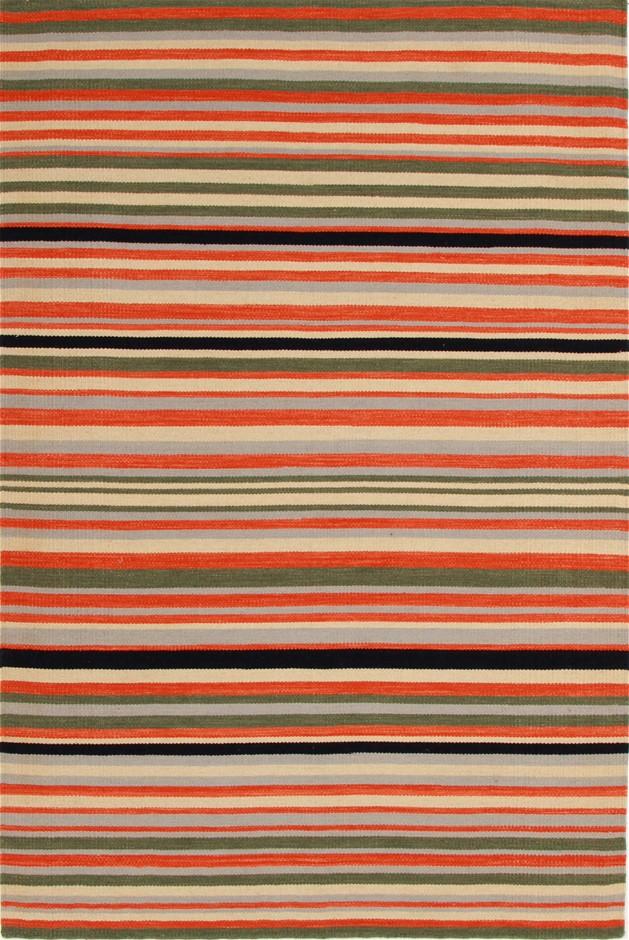 Small Red Striped Handmade Wool Rug - 225X155cm