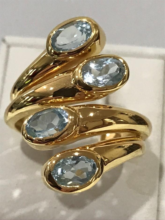 Stunning 2.55ct Blue Topaz & 18K Y/Gold Vermeil Ring Size N (6.75)