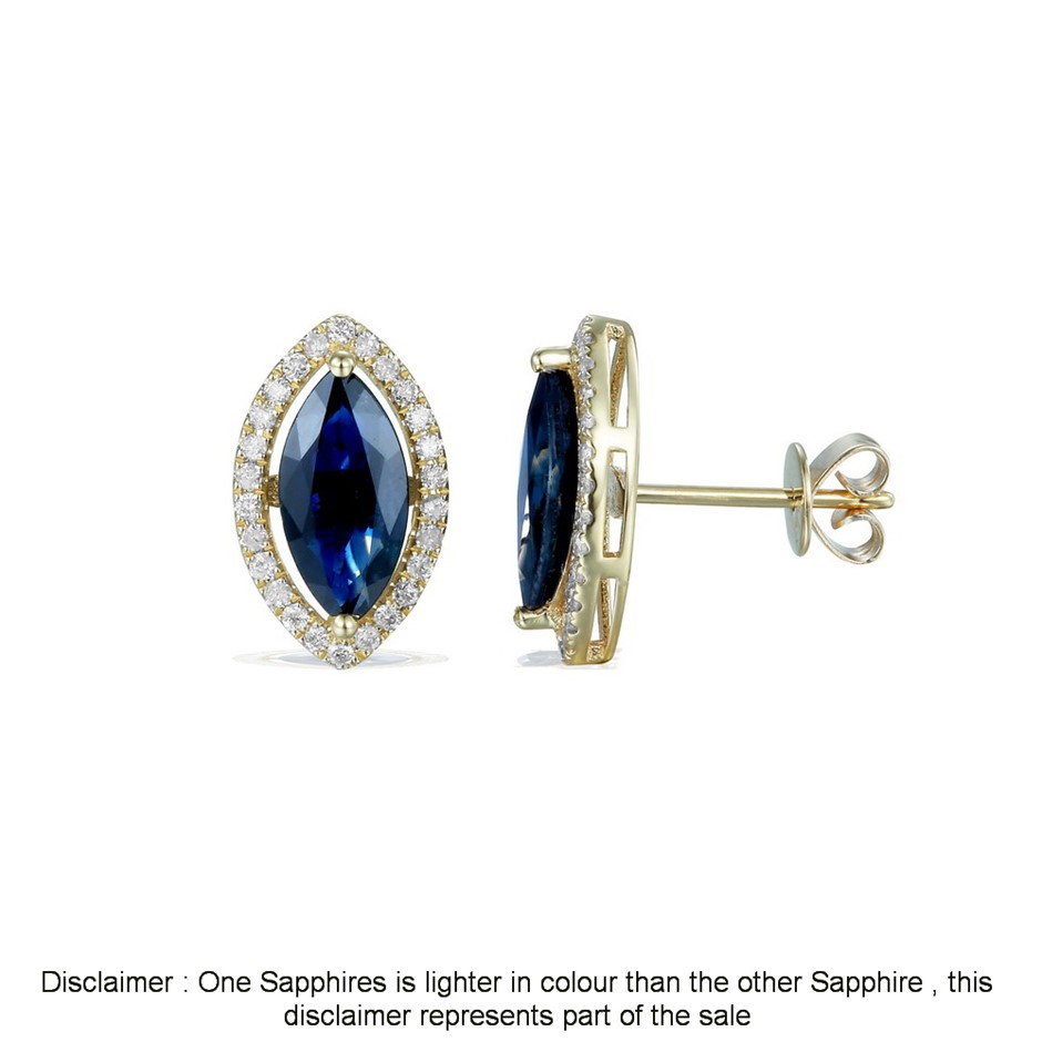 18ct Yellow Gold, 2.72ct Blue Sapphire and Diamond Earring