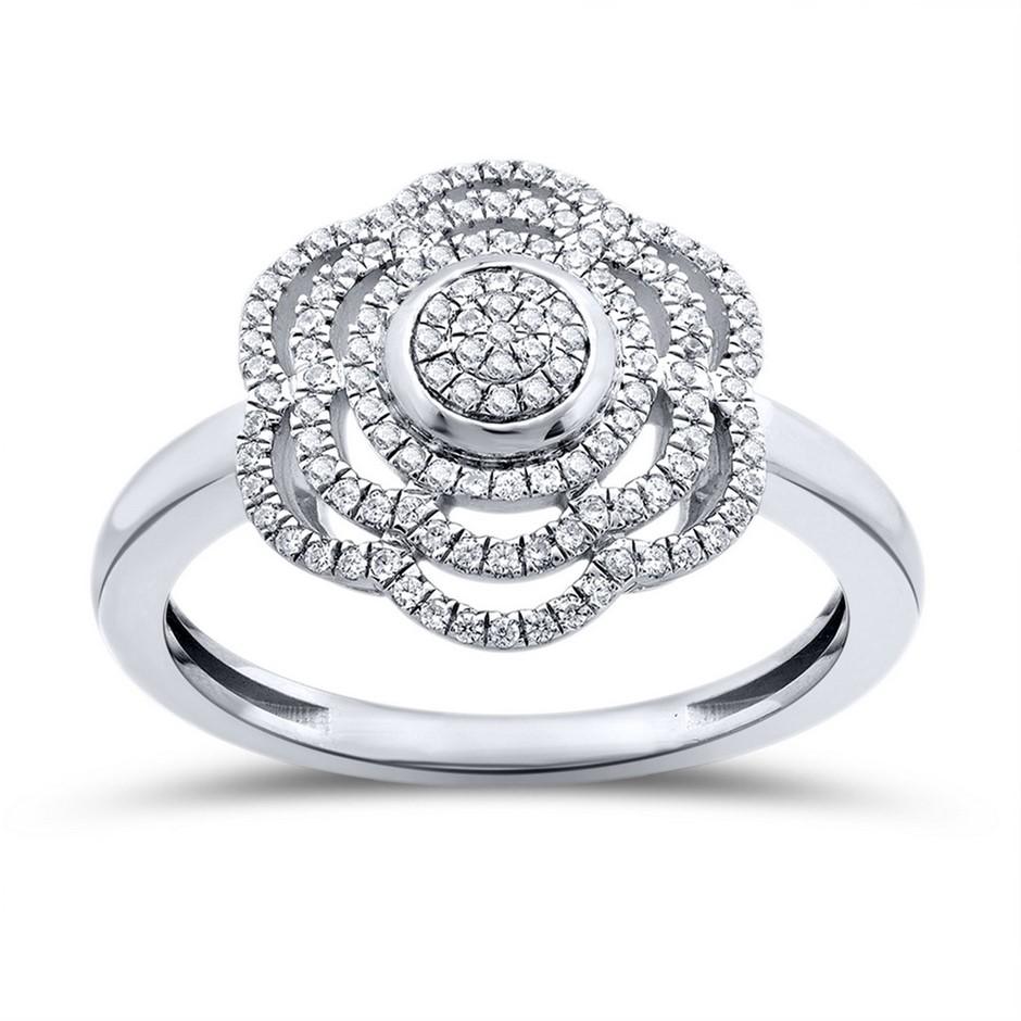 9ct White Gold, 0.11ct Diamond Ring