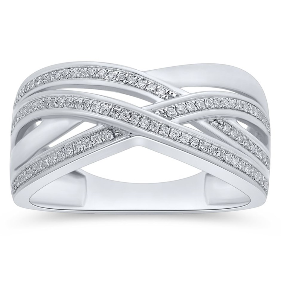9ct White Gold, 0.14ct Diamond Ring