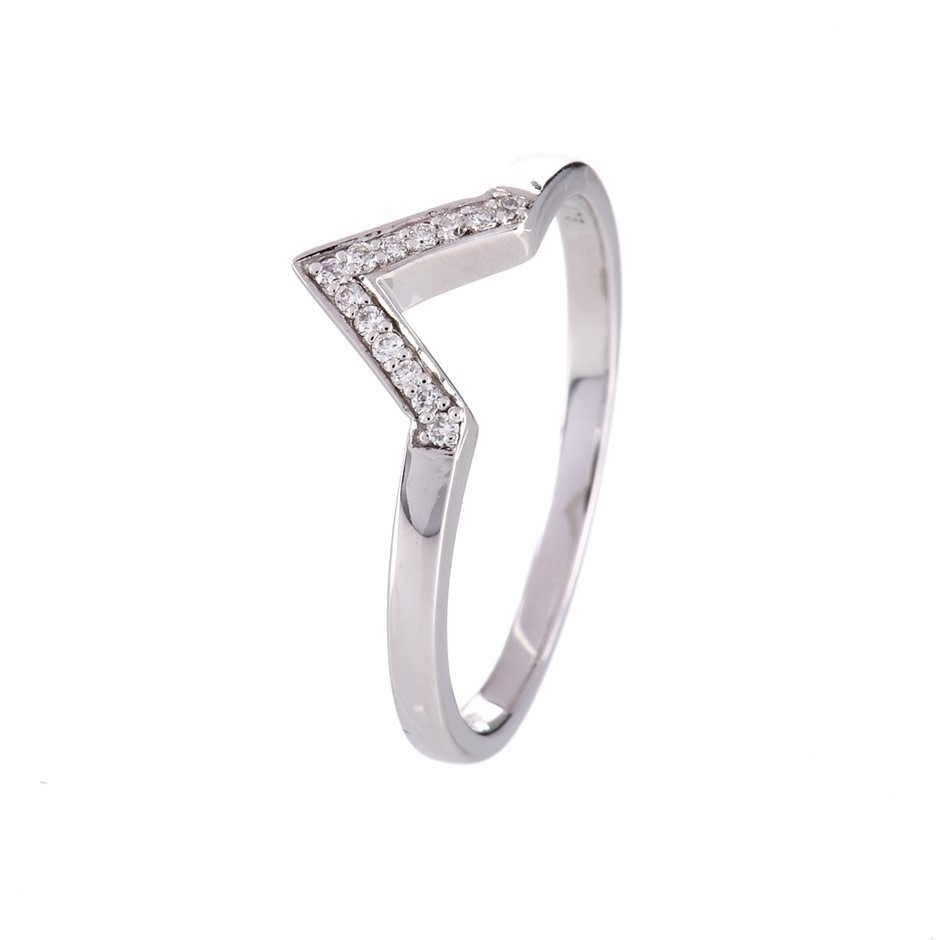 Solid 9ct white gold and diamond ring 0.07ct TDW