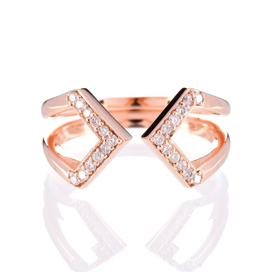 Solid 9ct rose gold and diamond ring 0.12ct TDW