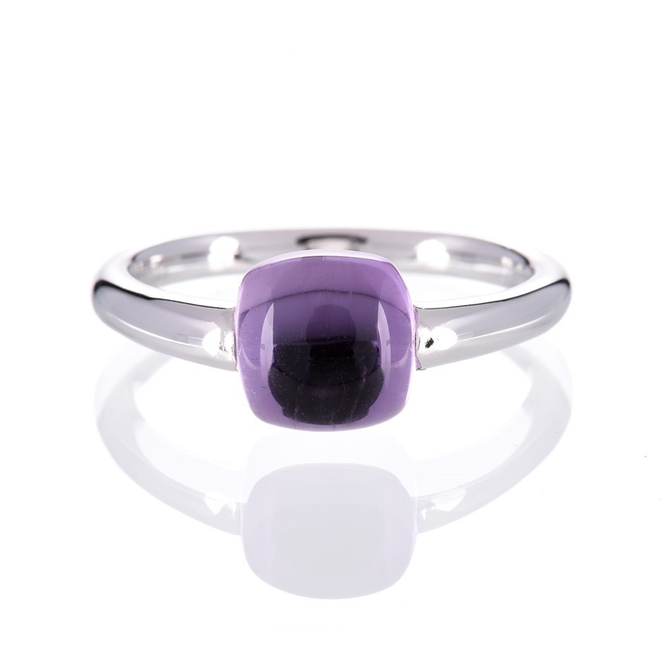 9ct solid white gold natural buff top cushion shape Amethyst edge setting