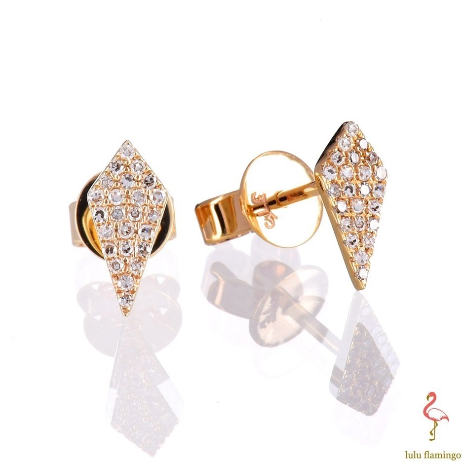 Solid 9ct yellow gold and diamond earrings 0.10ct TDW