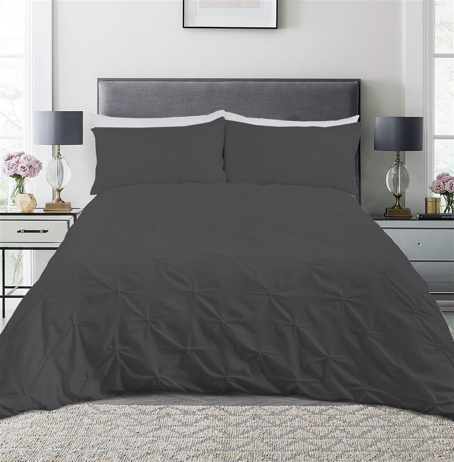 Dreamaker Spandex Emboridery Quilt Cover Set Pintuck King Bed - Charcoal