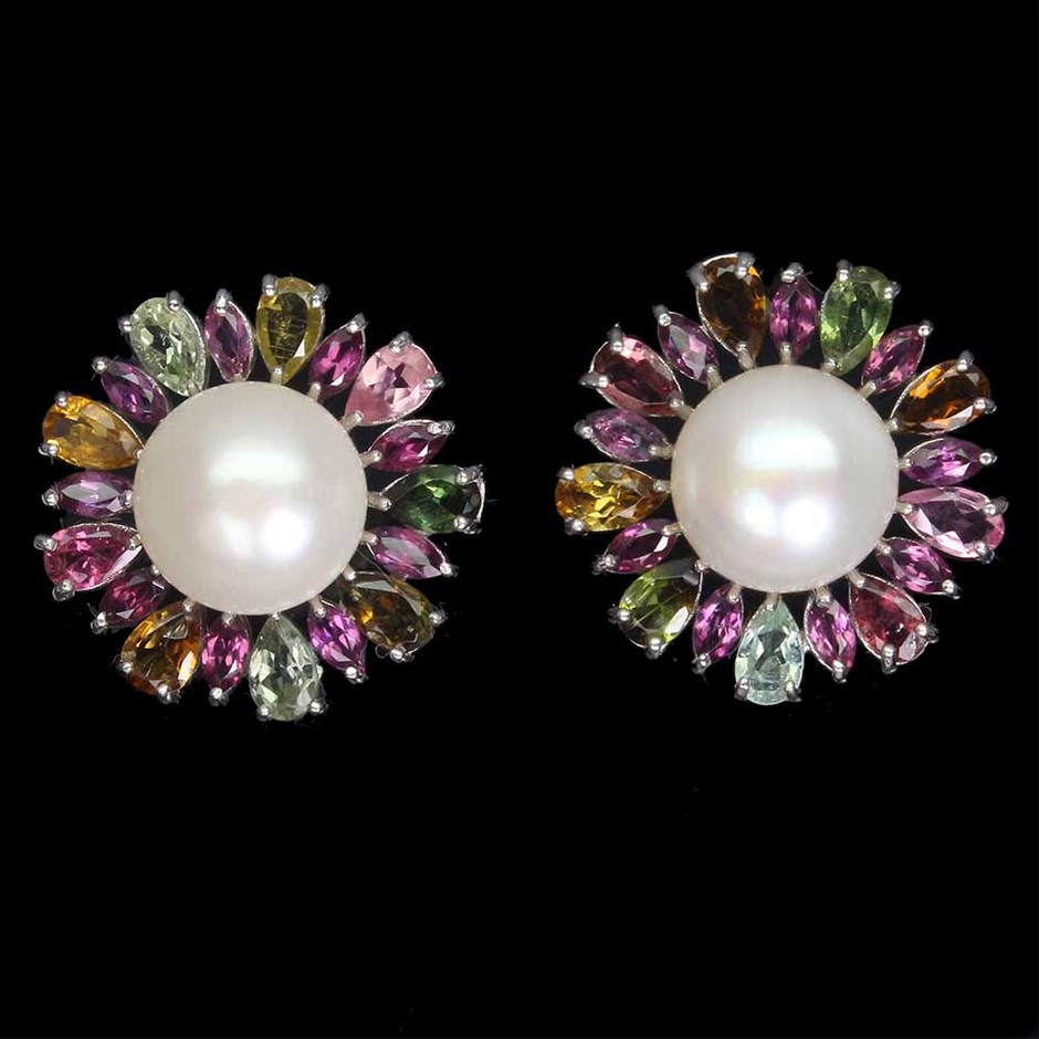 Amazing Genuine Pearl & Tourmaline Stud Earrings