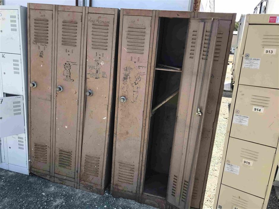 2x Brown 3 Door, Banks of Lockers Item condition is `Used`, please