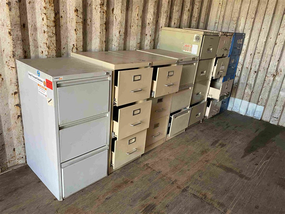 7x Assorted 3 and 4 Drawer Steel Filing Cabinets