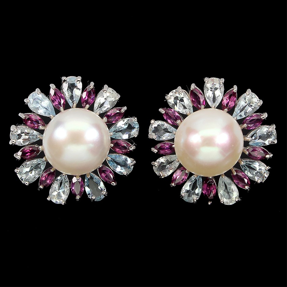 Amazing Genuine Pearl & Aquamarine Earrings.