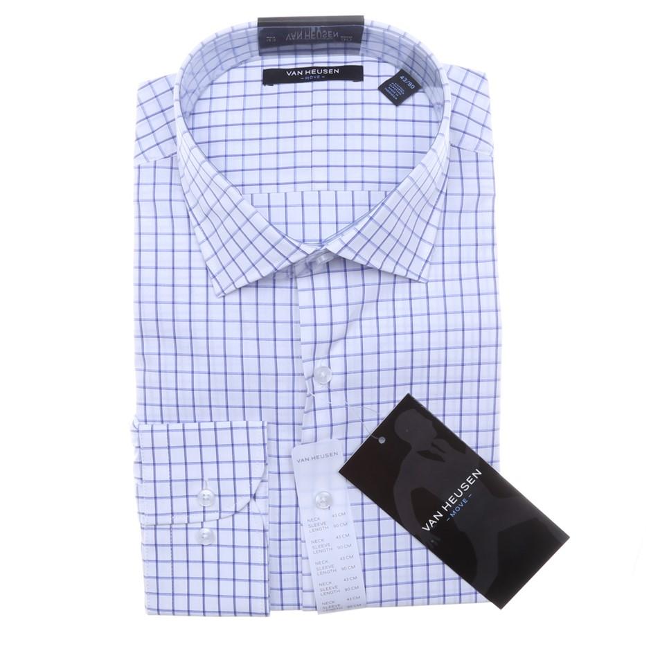 VAN HEUSEN Men`s Button Up Dress Shirt, Size 43, Cotton, Blue Check. Buyers