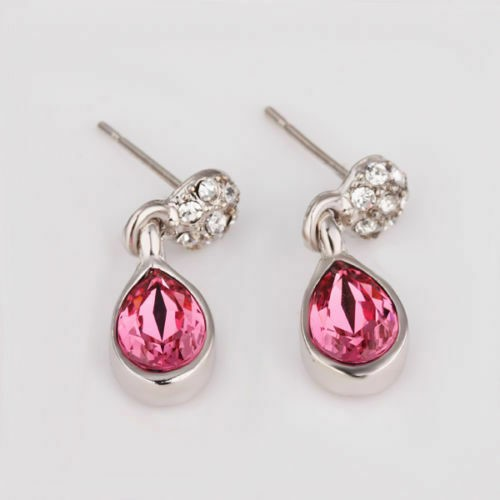 Antique Style 18K White Gold Filled Pink Crystal Drop Stud Earrings