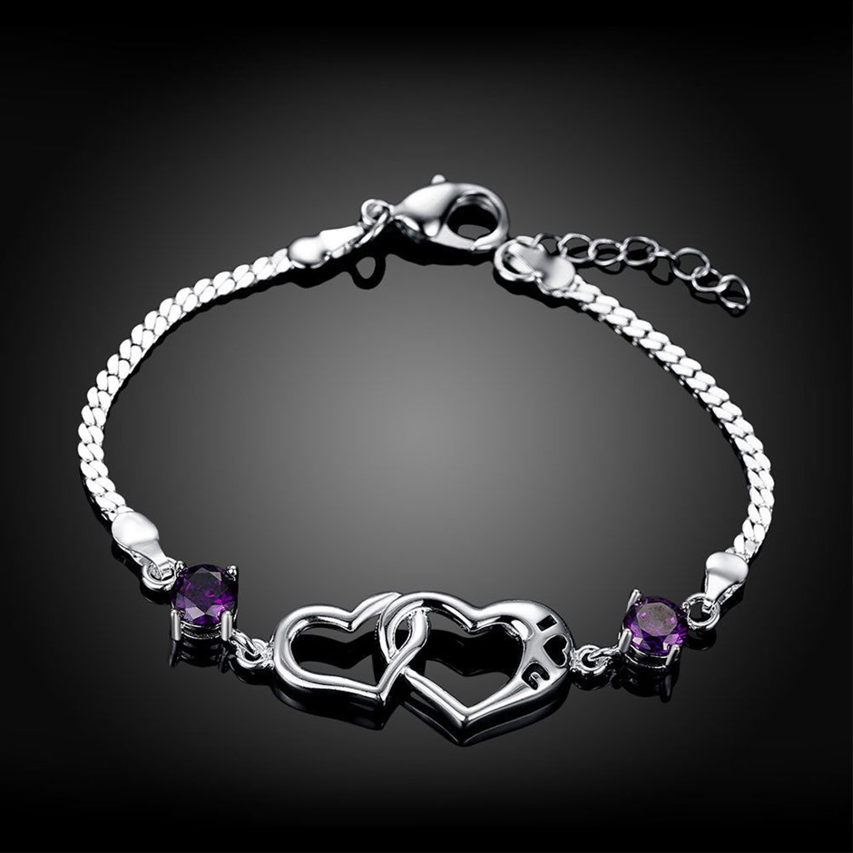 925 Sterling Silver Filled Love Heart Crystal Charm Bracelet Chain Gift