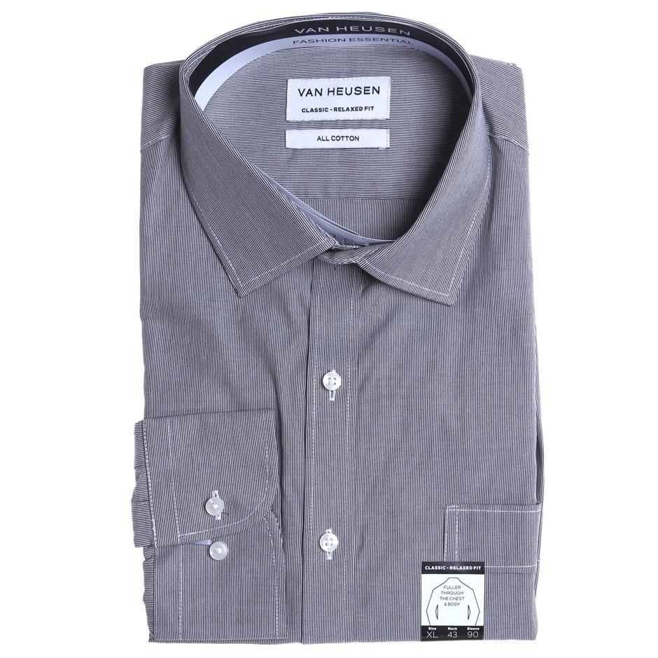 VAN HEUSEN Charcoal Fine Stripe Shirt. Size 43. Buyers Note - Discount Frei
