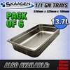 Unused 1/1 Gastronorm Trays 100mm - 6 Pack