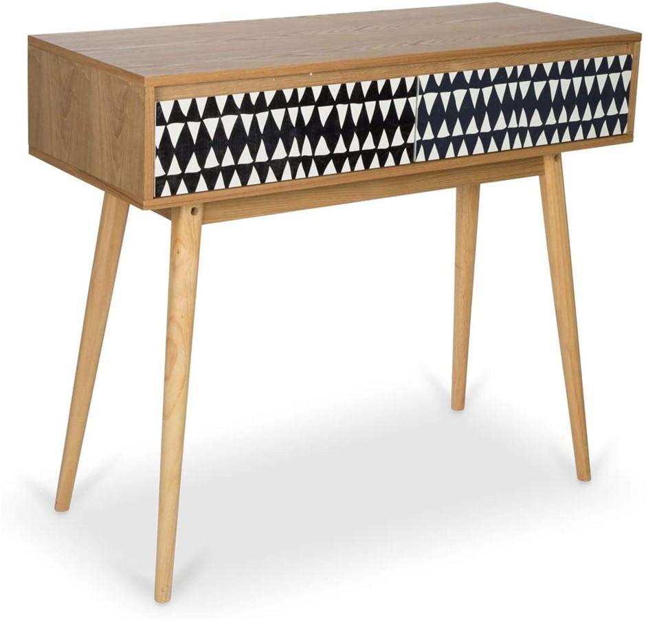 BOHO TRADERS Mono Drawer Wooden Desk, Black/White/ Natural. N.B Dismantled,