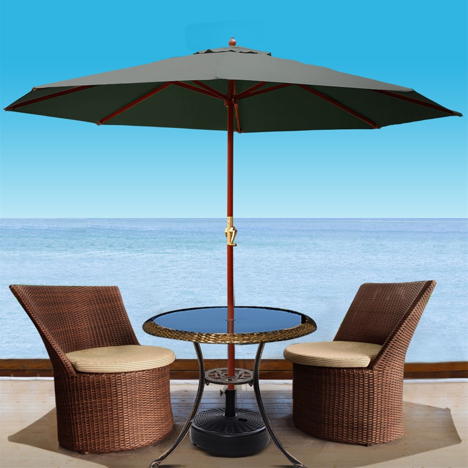 Instahut Umbrella Outdoor Pole Stand Sun Beach Garden Deck Charcoal 3M