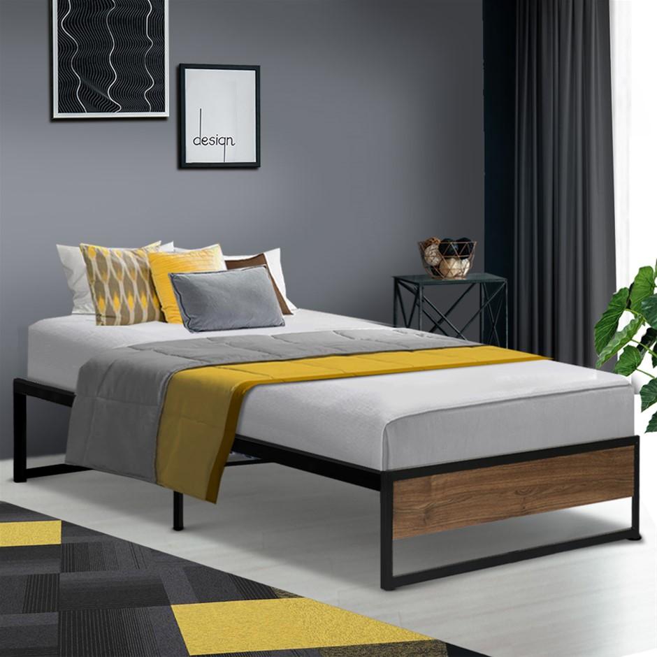 Metal Bed Frame Single Mattress Base Platform Foundation Wooden Black OSLO