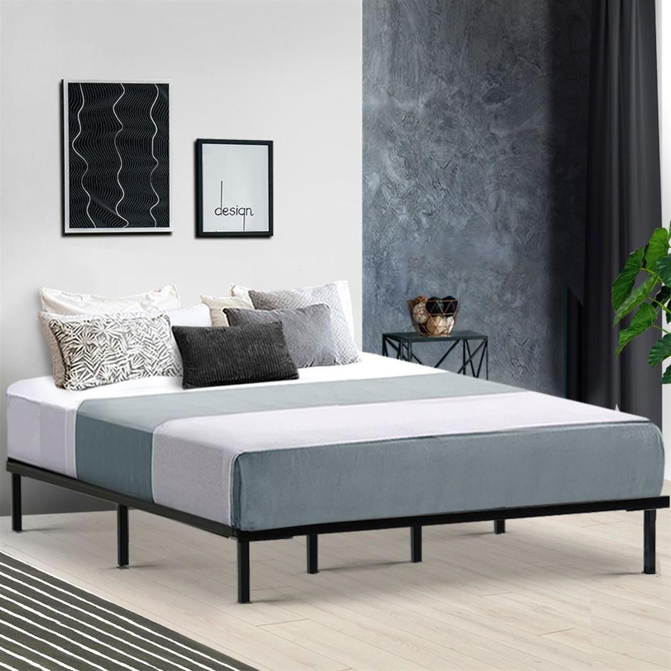 Metal Bed Frame King Mattress Base Platform Foundation Wooden Black TED