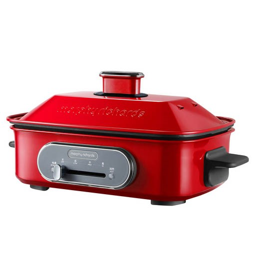 MORPHY RICHARDS 3-in-1 Multi-Function Cook Pot 1400W c/w Steaming Tray, Red