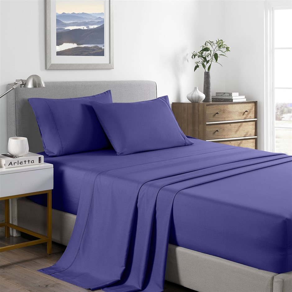 Royal Comfort Bamboo Cooling 2000TC Sheet Set - Single-Royal Blue
