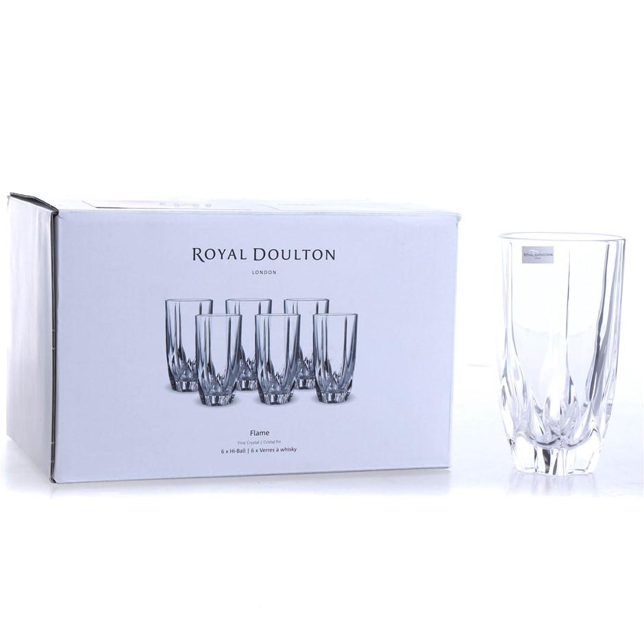 4 x ROYAL DOULTON Flame Fine Crystal Hi-Ball Drinking Glasses. (SN:CC66664)